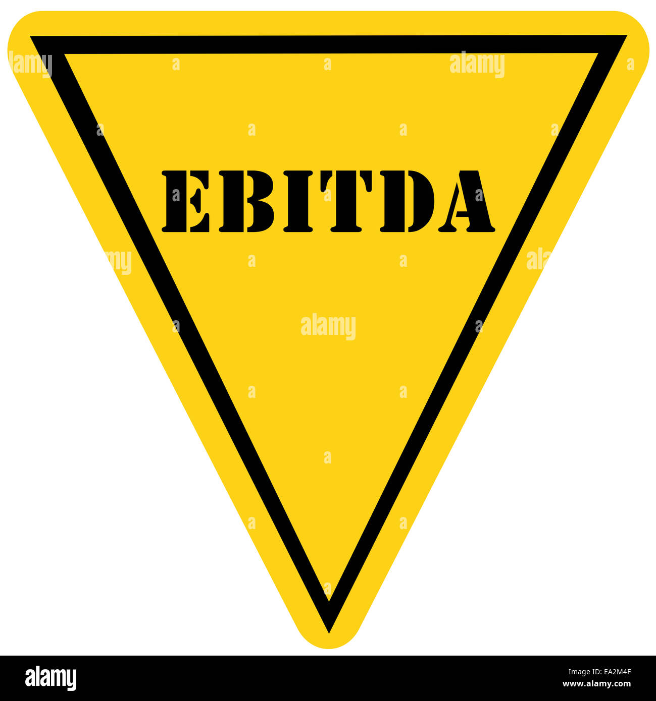 A yellow and black triangle shaped road sign with the word ebitda a yellow and black triangle shaped road sign with the word ebitda making a great concept buycottarizona Images