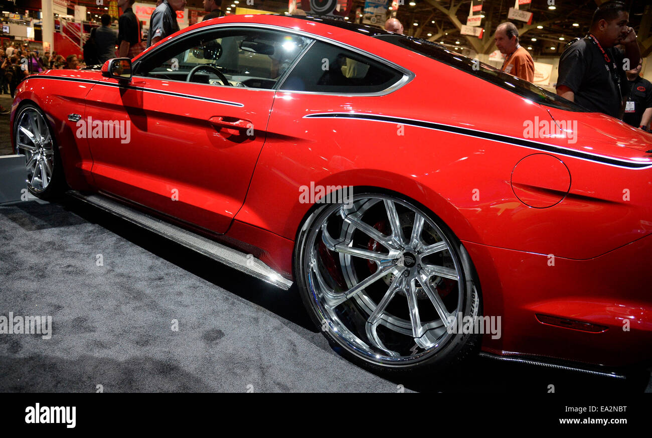 Las vegas nevada usa 5th november 2014 a 2015 mustang gt fastback by cgs with 24 inch rear rims on display during the second day of the 2014 sema show