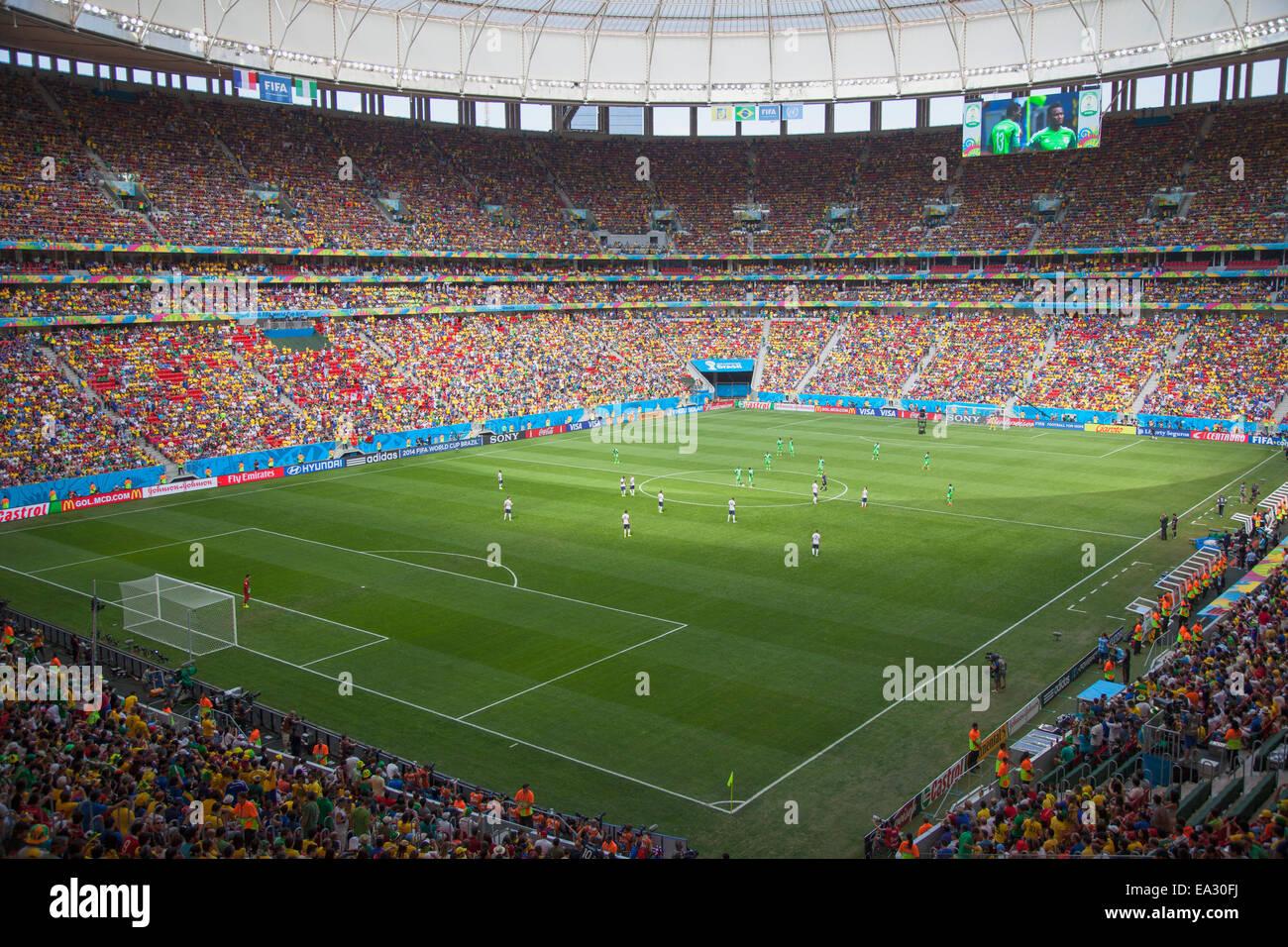 World Cup football match in National Mane Garrincha Stadium Stock