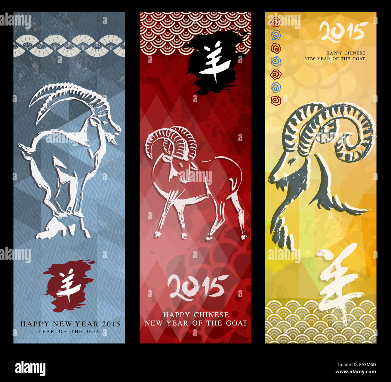 Happy 2015 chinese new year of the goat greeting card geometric happy 2015 chinese new year of the goat greeting card geometric style banner background set kristyandbryce Choice Image