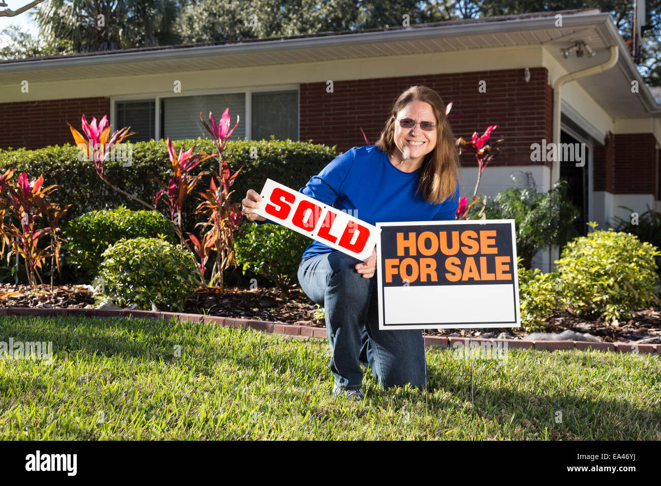Mature Home Owner Selling Her Suburban House . Usa Stock Photo ...