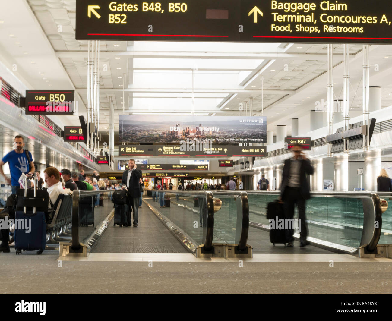 Airport Travelers Moving Sidewalks And Gates United