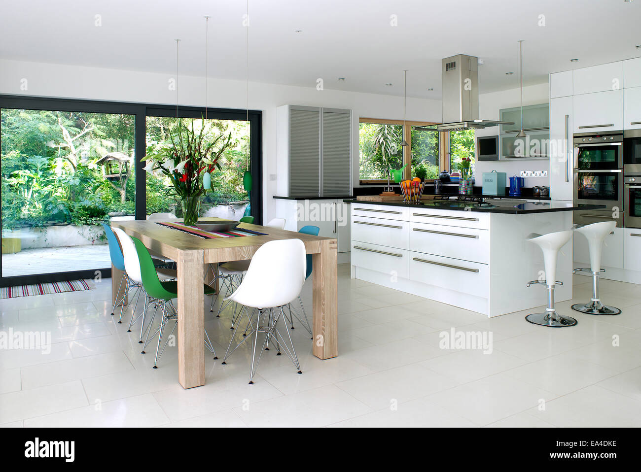 Open Plan Kitchen Ideas Uk open plan kitchen and dining area in residential house, uk stock
