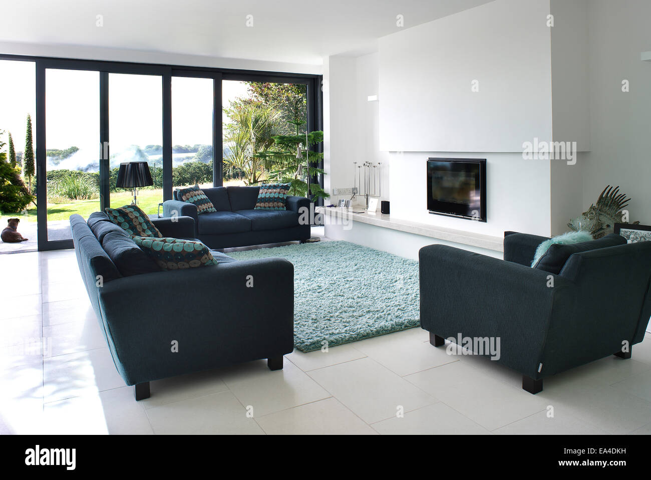 open plan living room with view through patio doors in residential