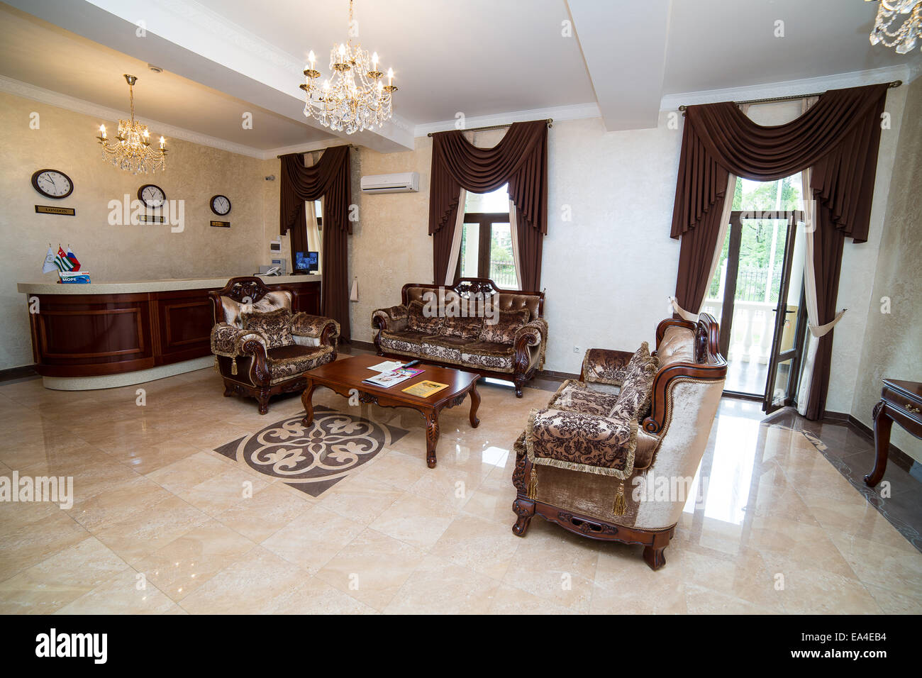 modern hotel reception hall interior design stock photo, royalty