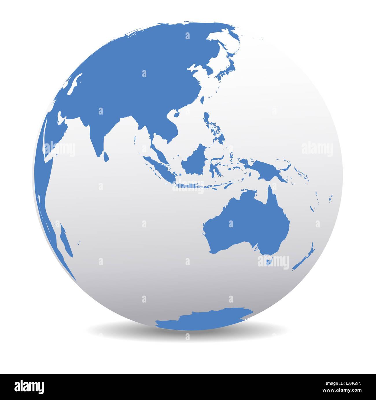 ASIA Malaysia Australia World Earth Icon Globe Map Stock Photo