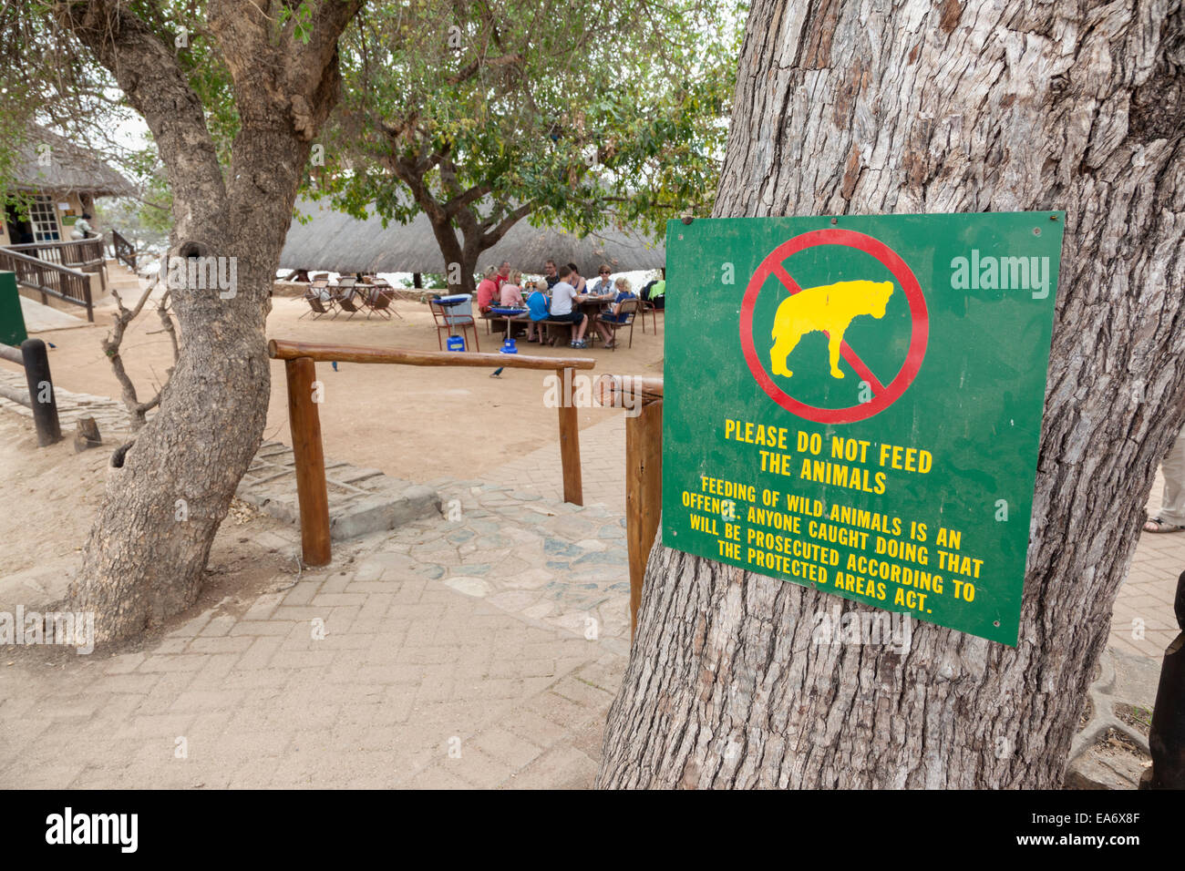 Dont feed the animals sign picnic spot Kruger national park