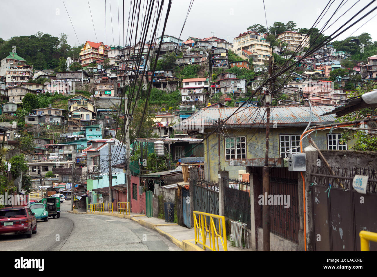 congested housing in baguio city  philippines stock photo