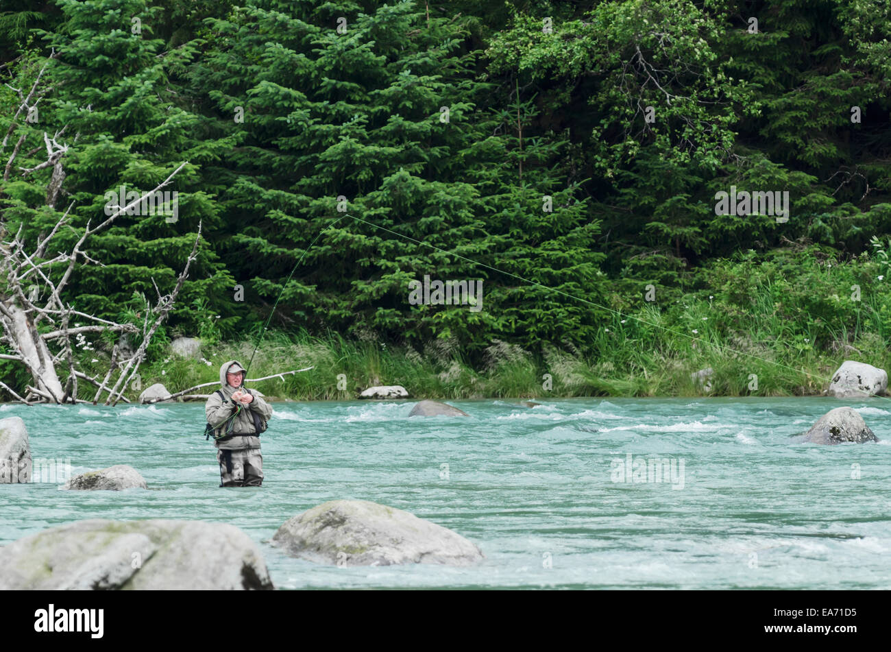 Fly fishing for sockeye salmon in chikoot river near for Fly fishing supplies near me