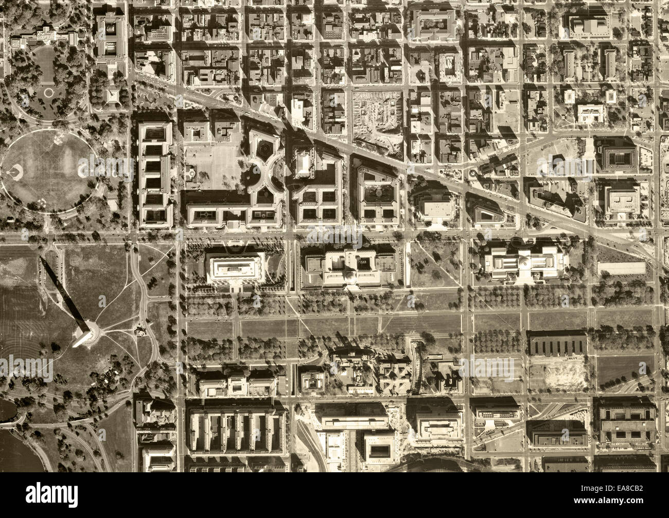 Historical Aerial Photograph Of Capitol Mall Washington Monument - Washington dc capitol map