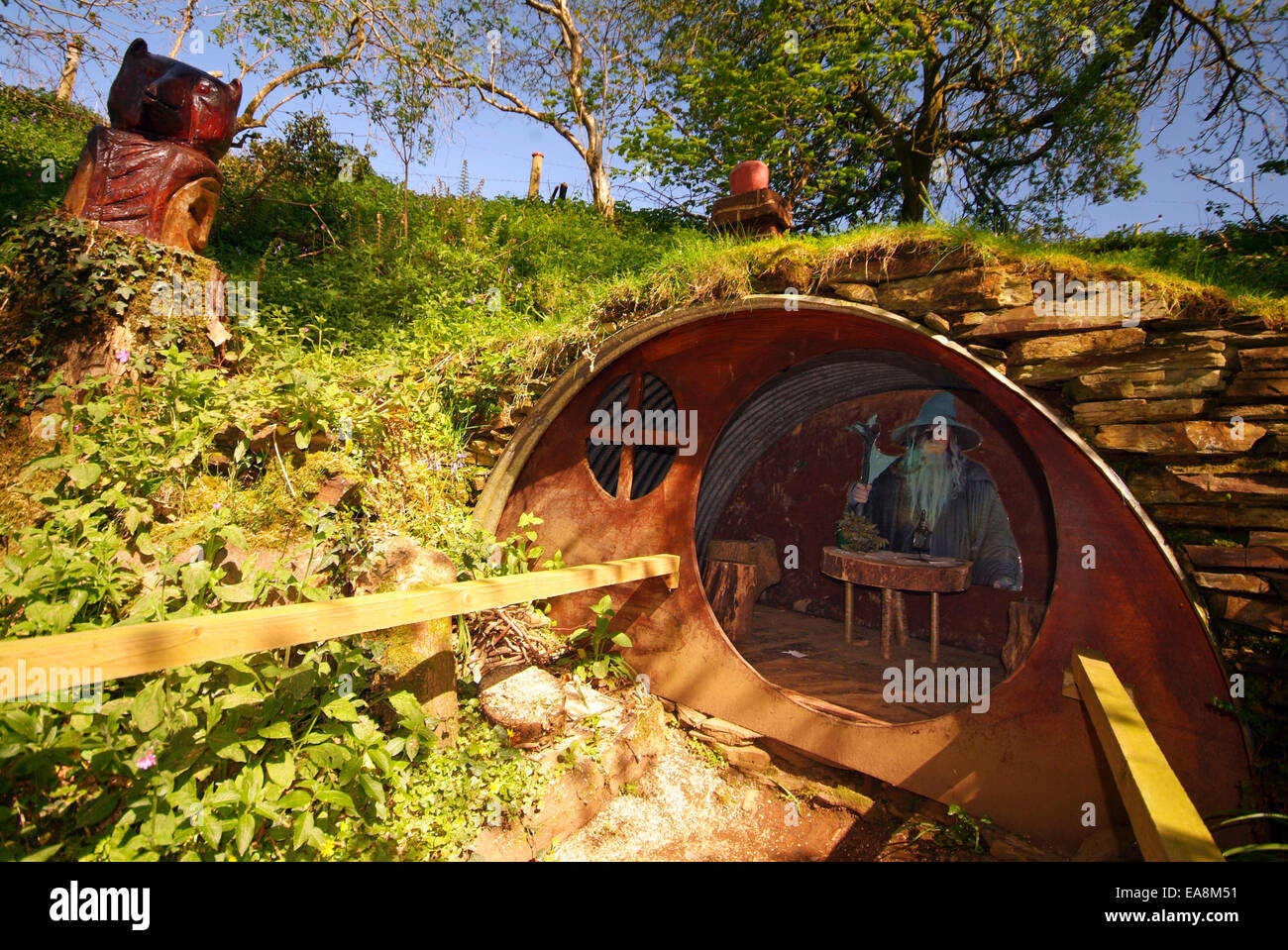 The hobbit house exhibit with the wizard gandalf inside at for Hobbit house images