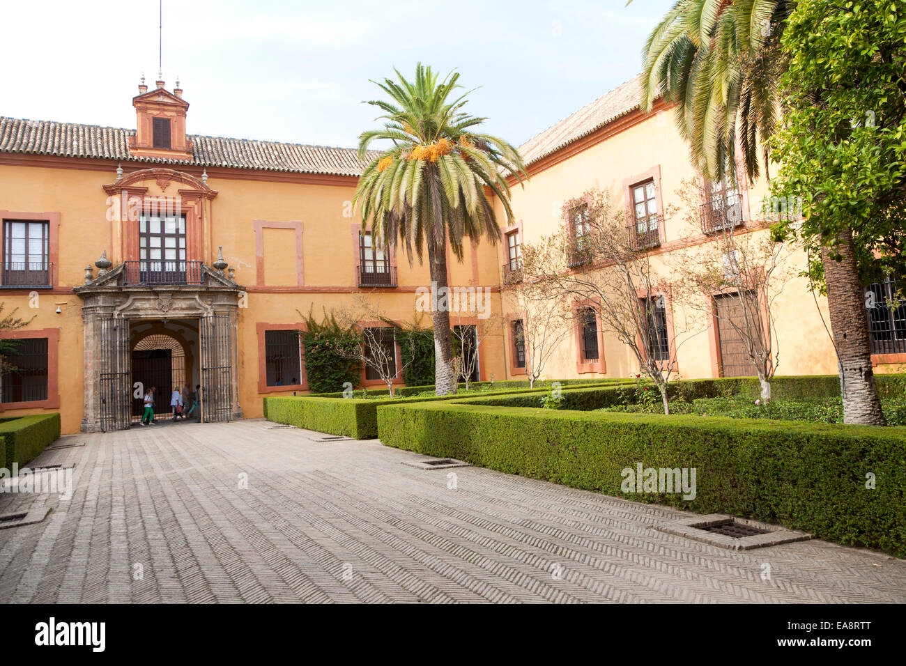 Patio Del Crucero And Palace Of King Carlos The Fifth, Alcazar Palaces,  Seville, Spain