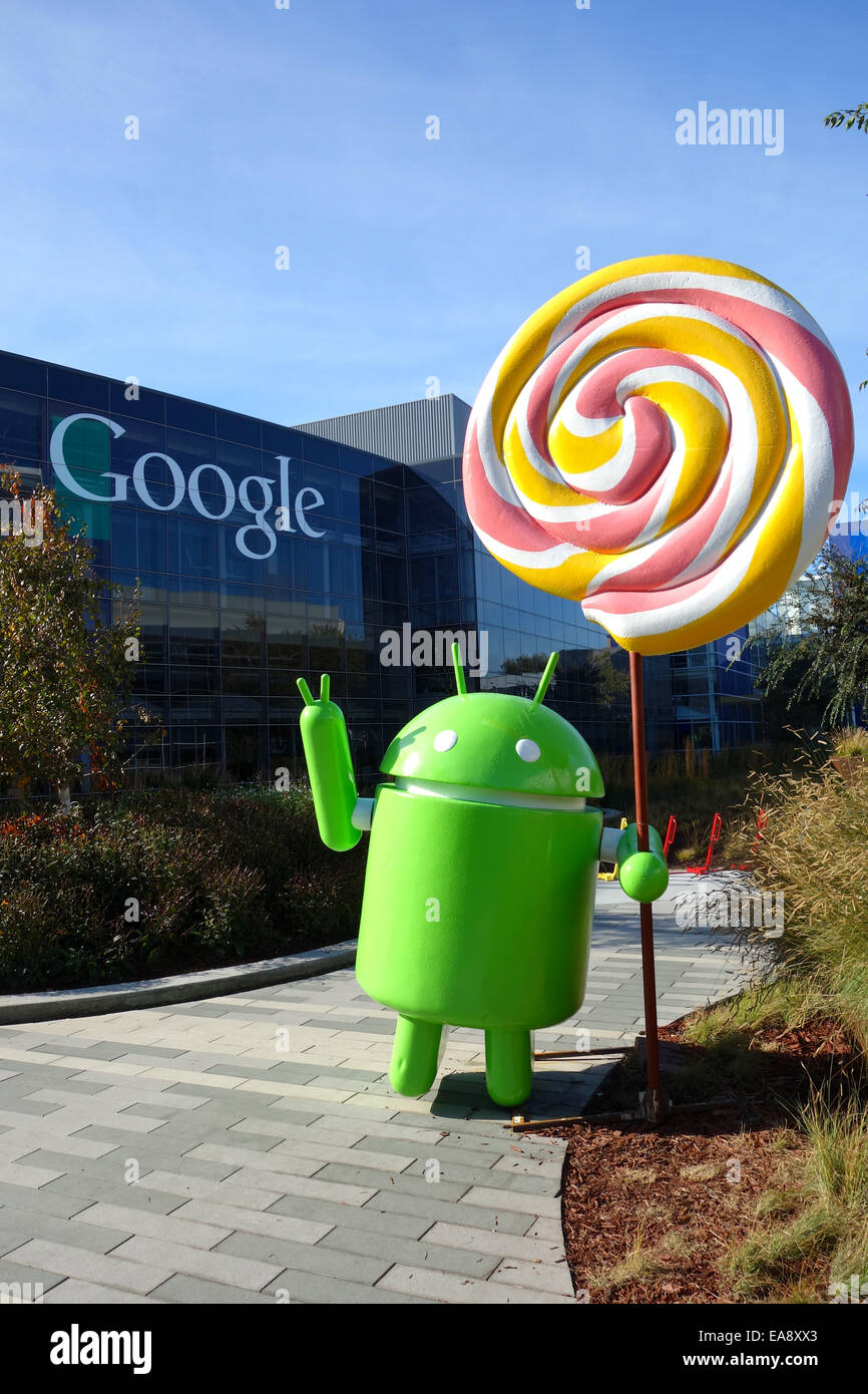 Android 5.0 Lollipop mobile operating system statue at ...