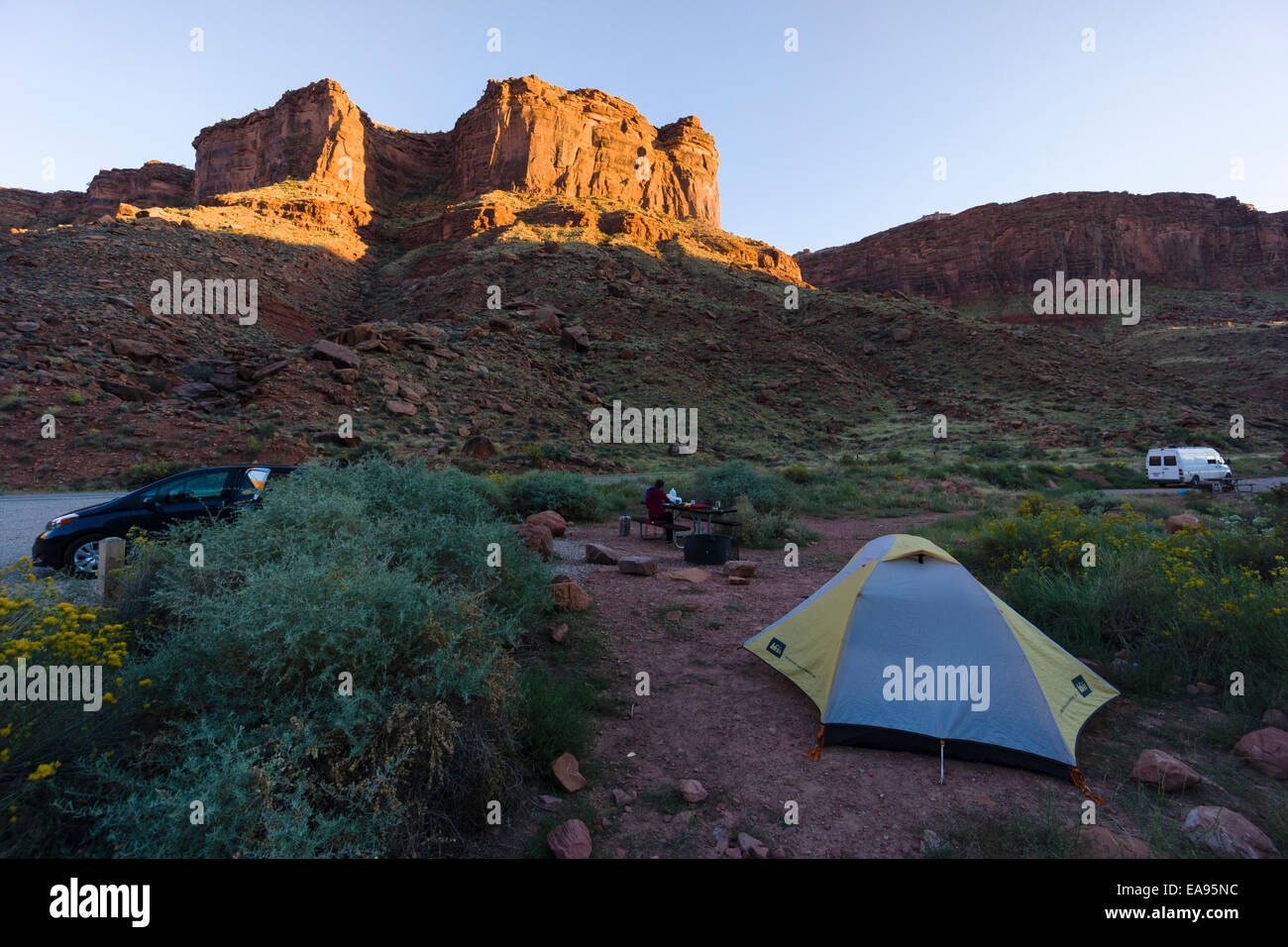 Tent c&ing at Drinks Canyon c&ground Moab Utah USA & Tent camping at Drinks Canyon campground Moab Utah USA Stock ...