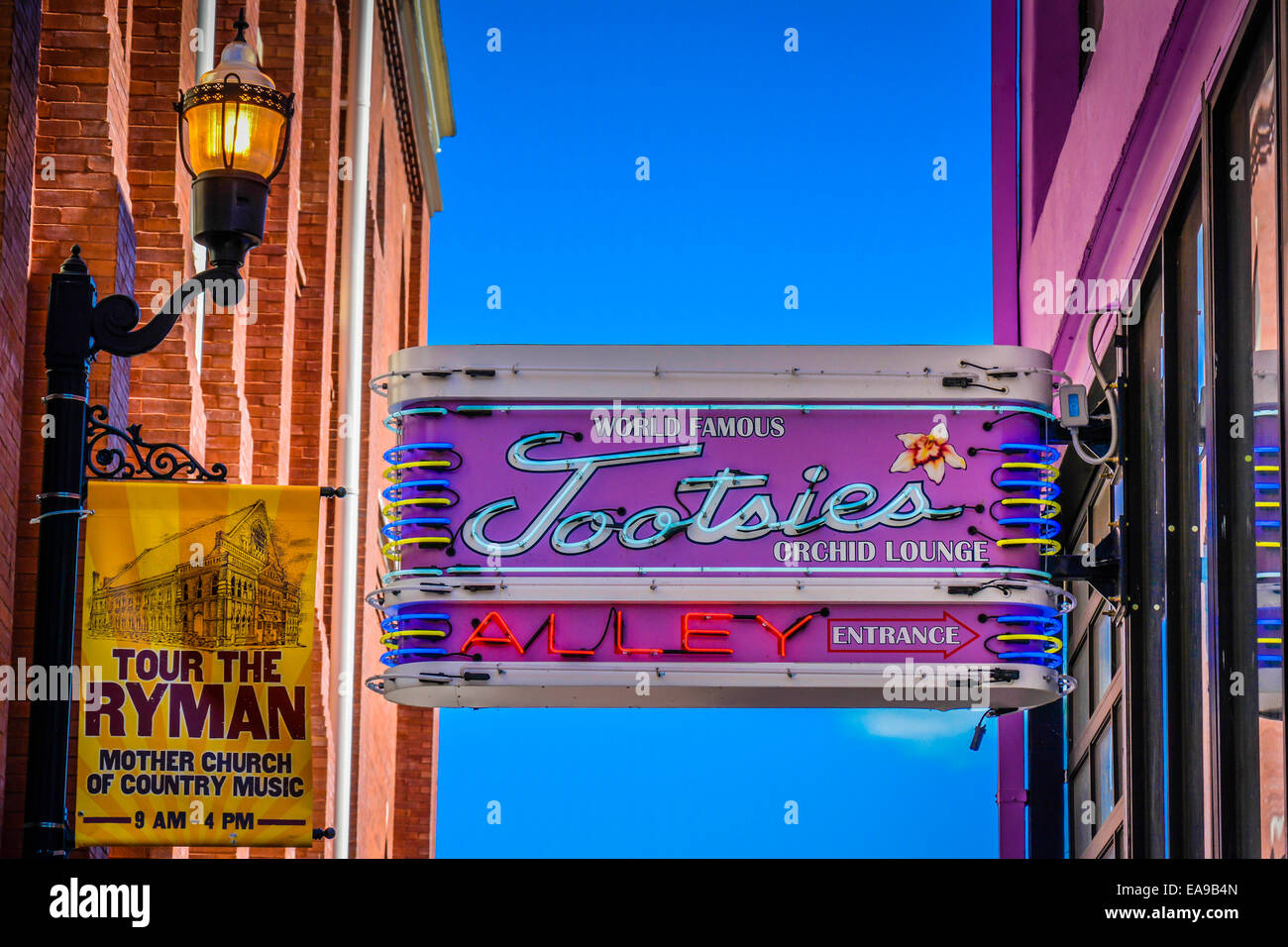Nashville Used Music >> Sign for alley entrance to the world famous Tootsies Orchid Lounge Stock Photo, Royalty Free ...
