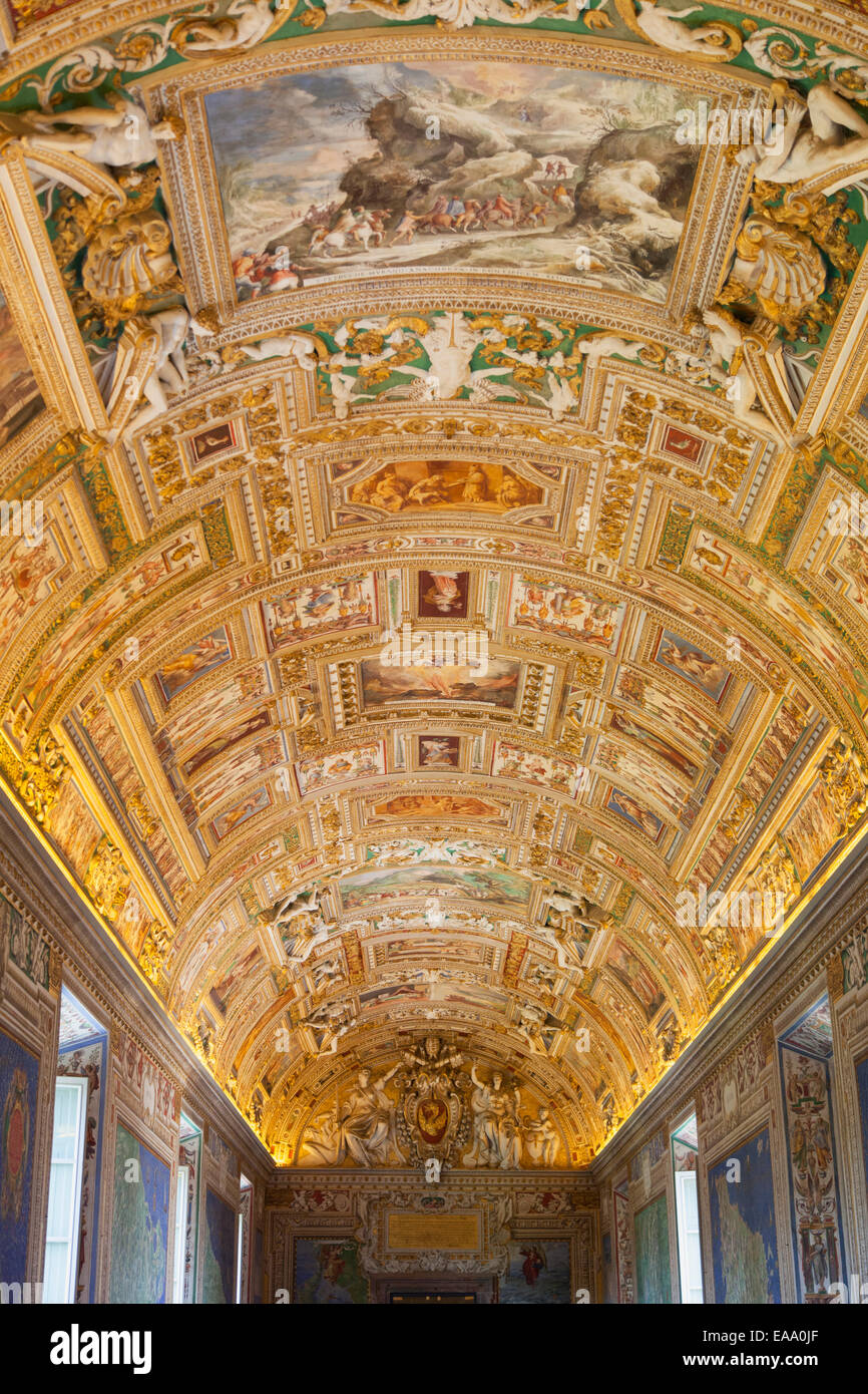 Ceiling of Gallery of Maps inside Vatican Museum UNESCO World