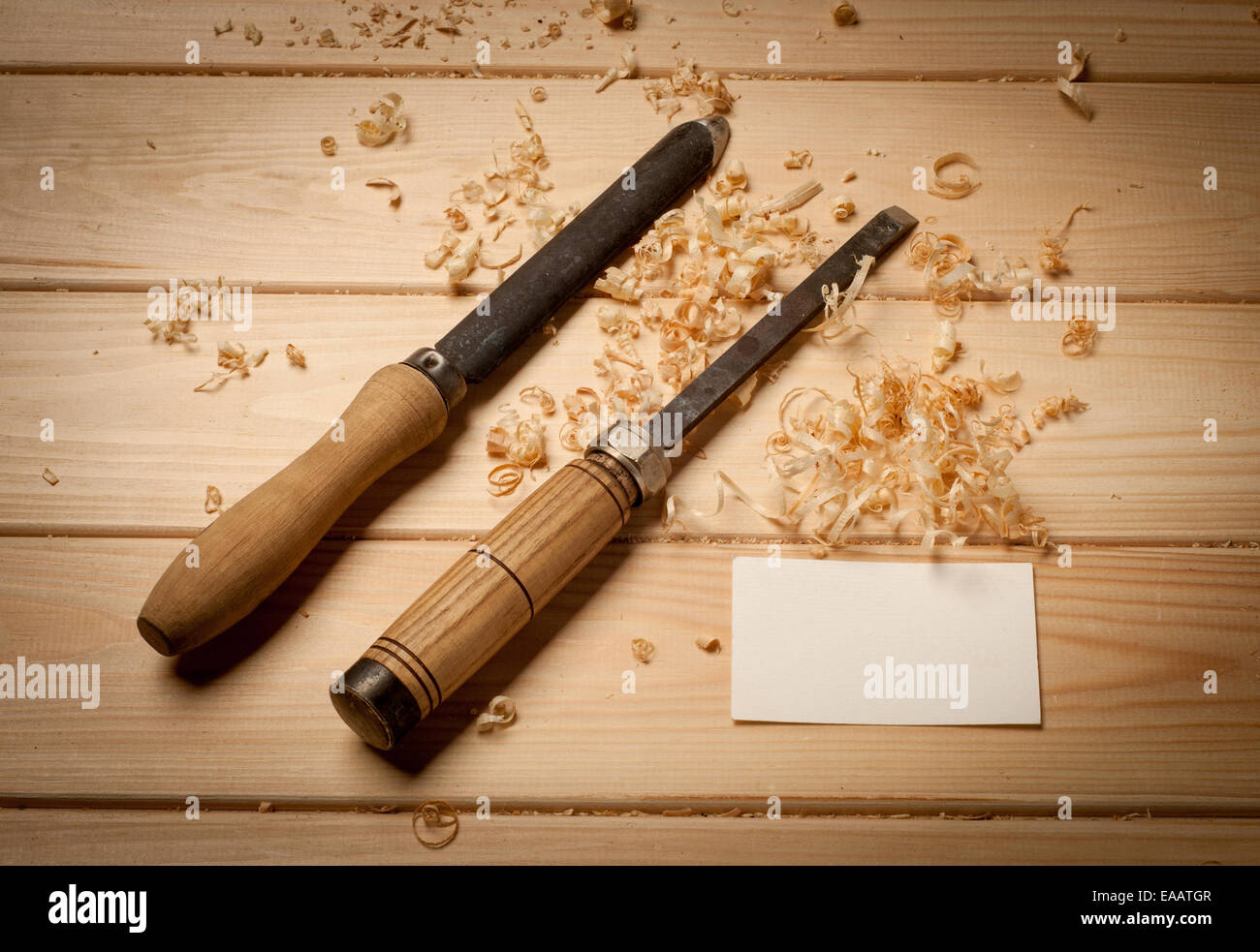 joinery tools on wood table background with business card Stock ...