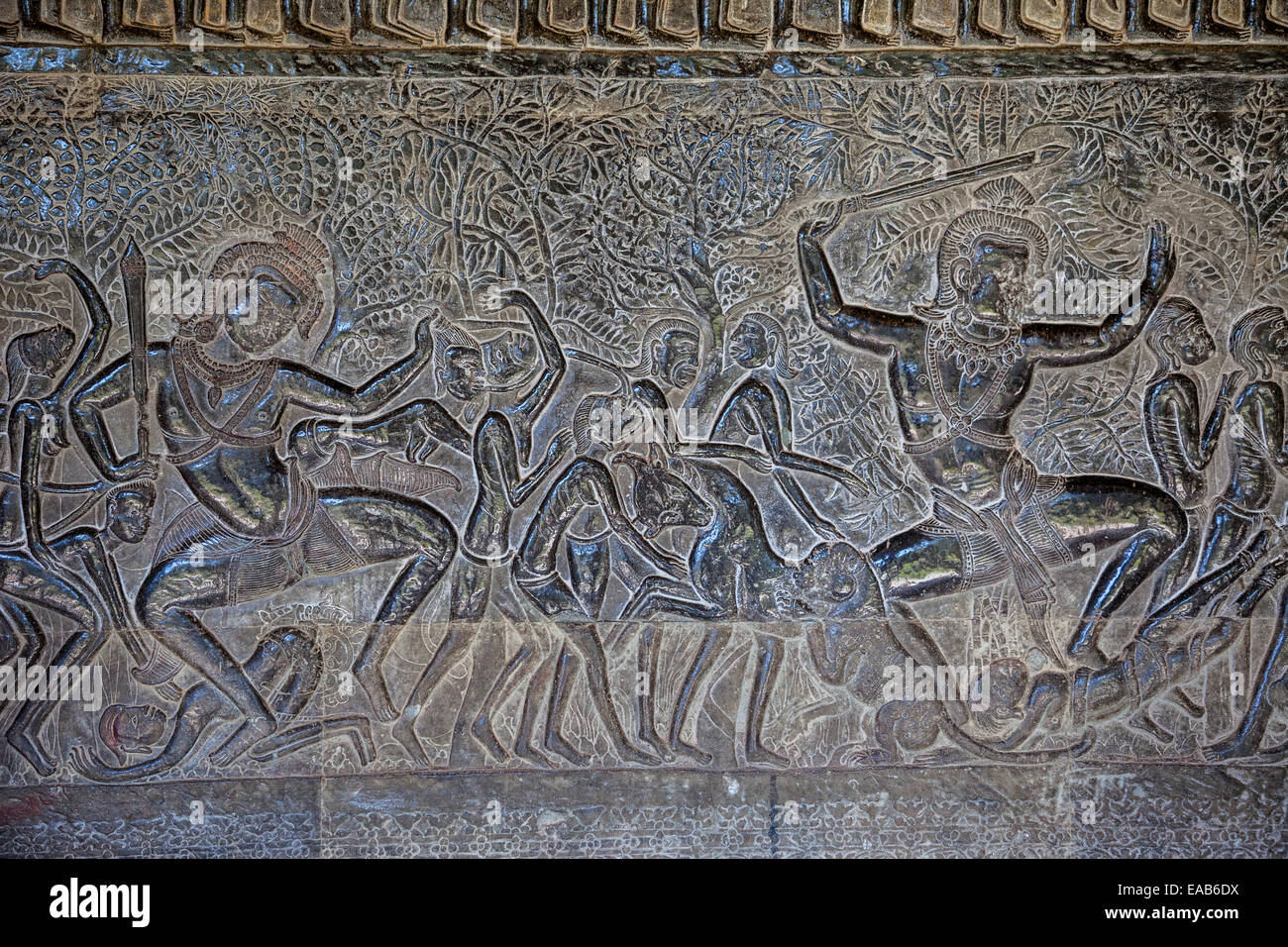 Cambodia angkor wat bas relief stone carving depicting