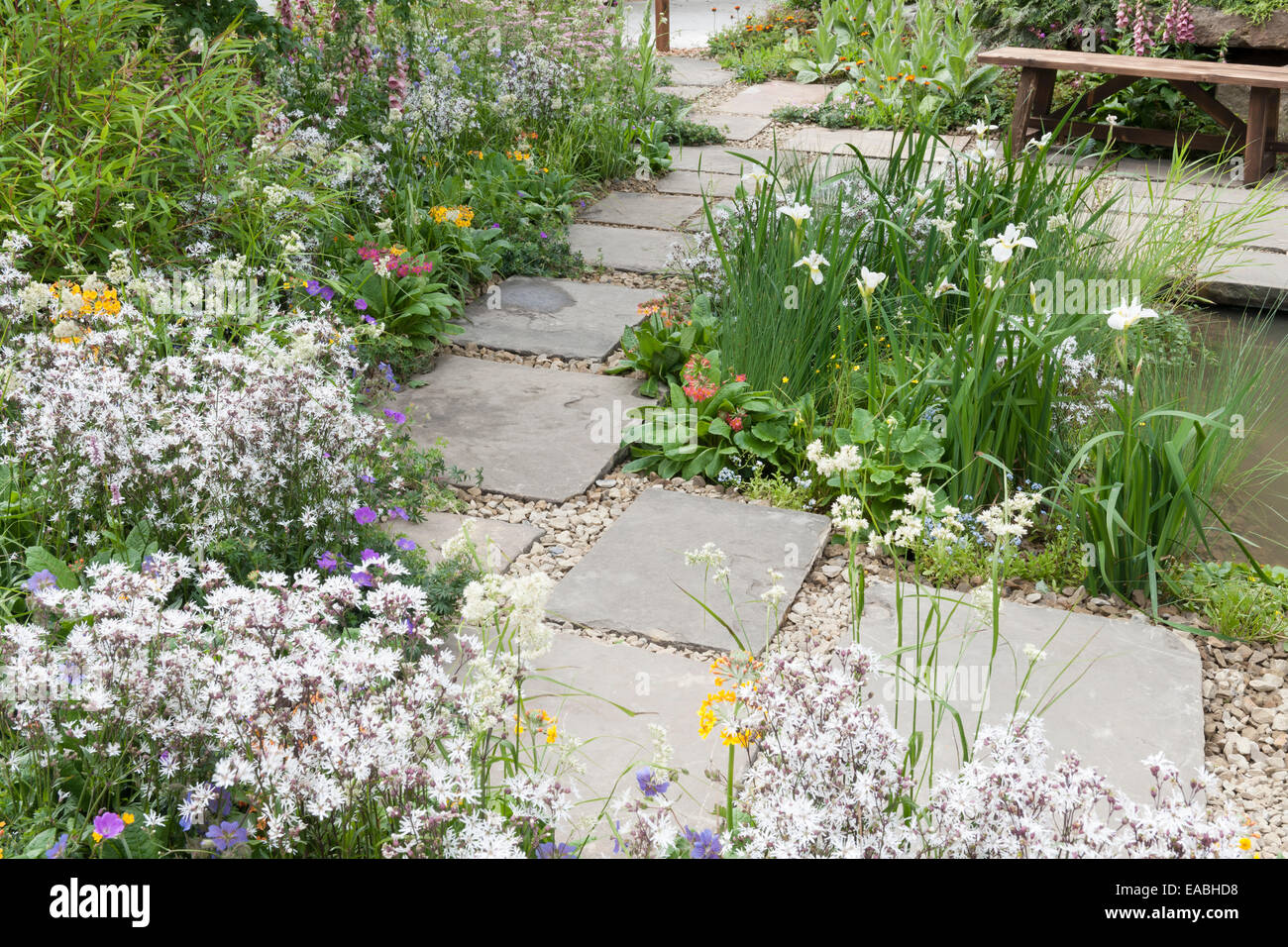 Paved Small Garden With Pond At Chelsea Flower Show Stock