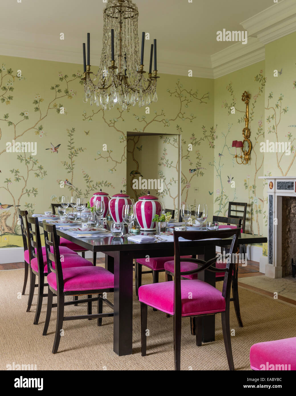 De Gournay Chinoiserie Wallpaper In Dining Room With French Crystal  Chandelier And Dining Chairs Upholstered In Bruno Triplet Ve