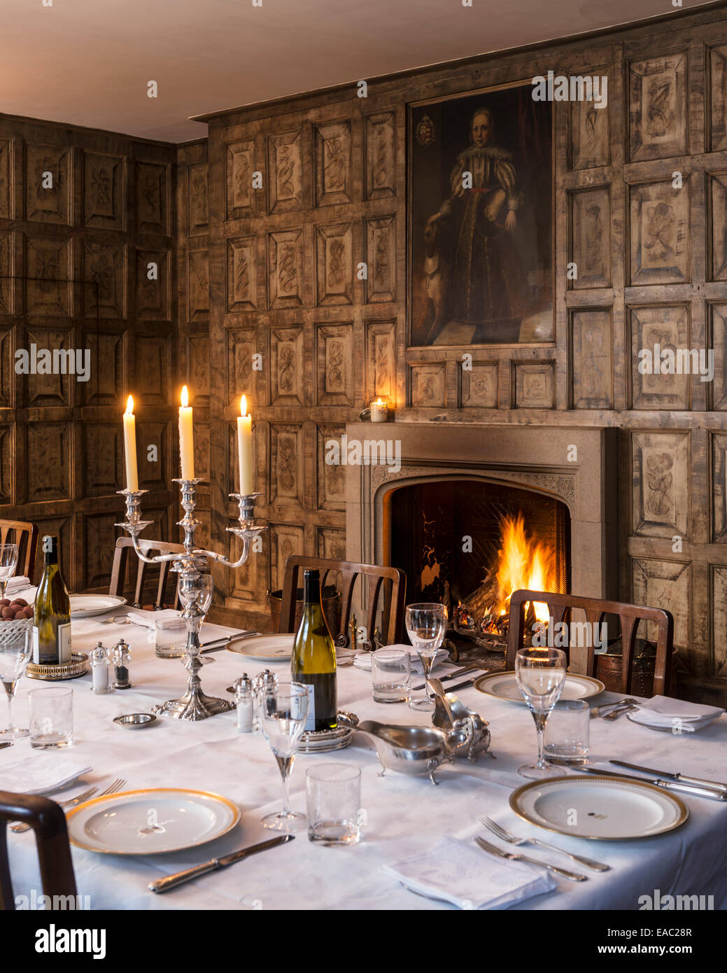 Original Jacobean Wall Panels In Dining Room With Open Fireplace