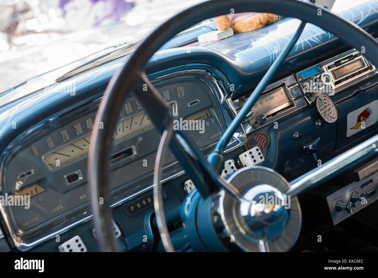 Inside a classic car at the Fells Point Fun Festival, Baltimore ...