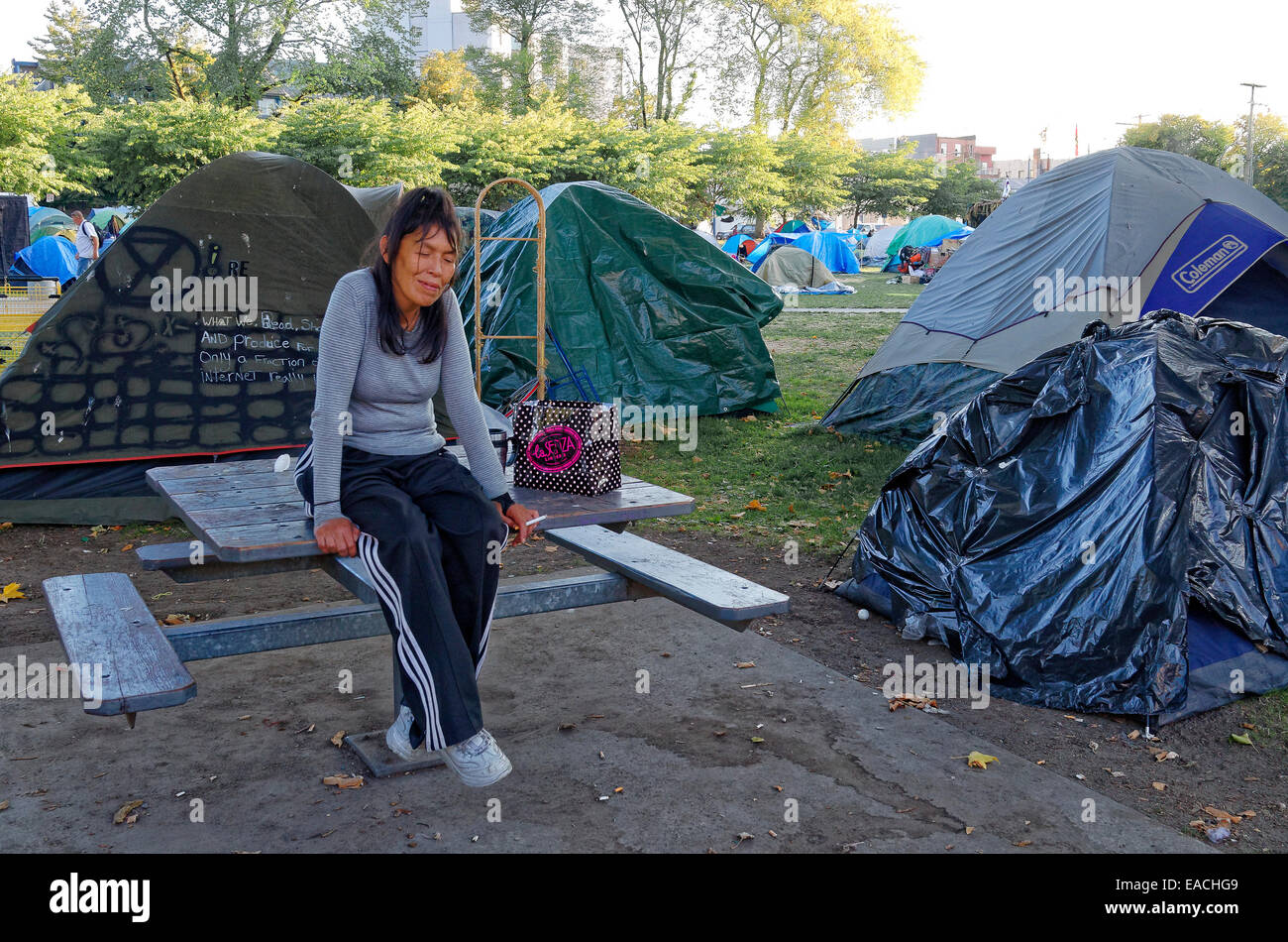 Woman at tent city erected by homeless in Oppenheimer Park Vancouver British Columbia Canada & Woman at tent city erected by homeless in Oppenheimer Park Stock ...