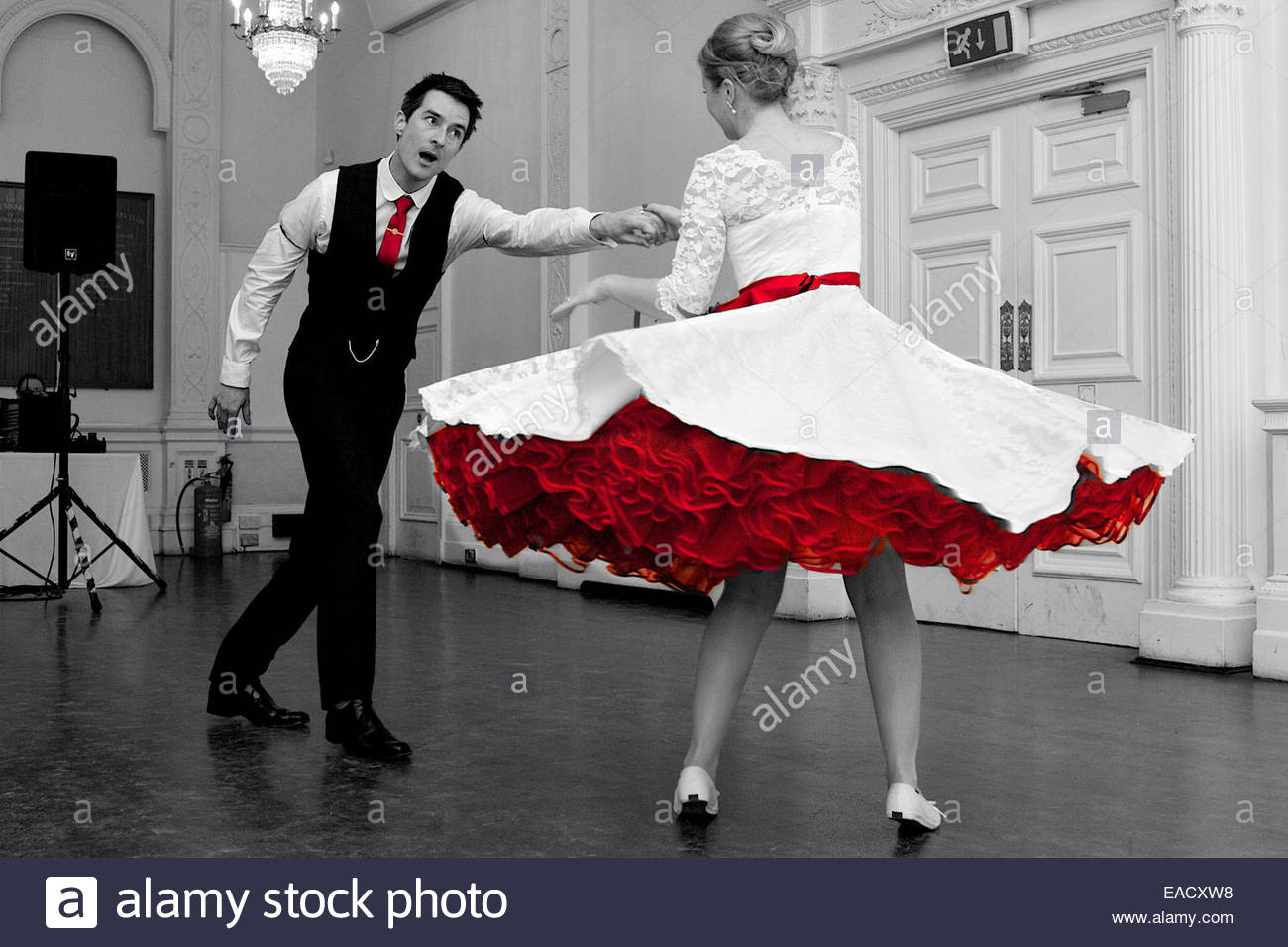Wedding Couple Swing Dancing Red Petticoat Dress