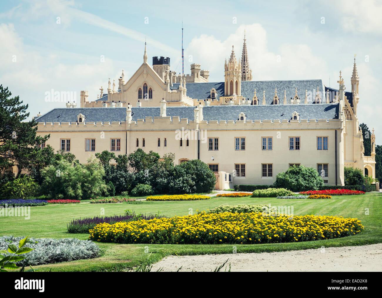 Lednice castle with beautiful gardens Moravia Czech republic