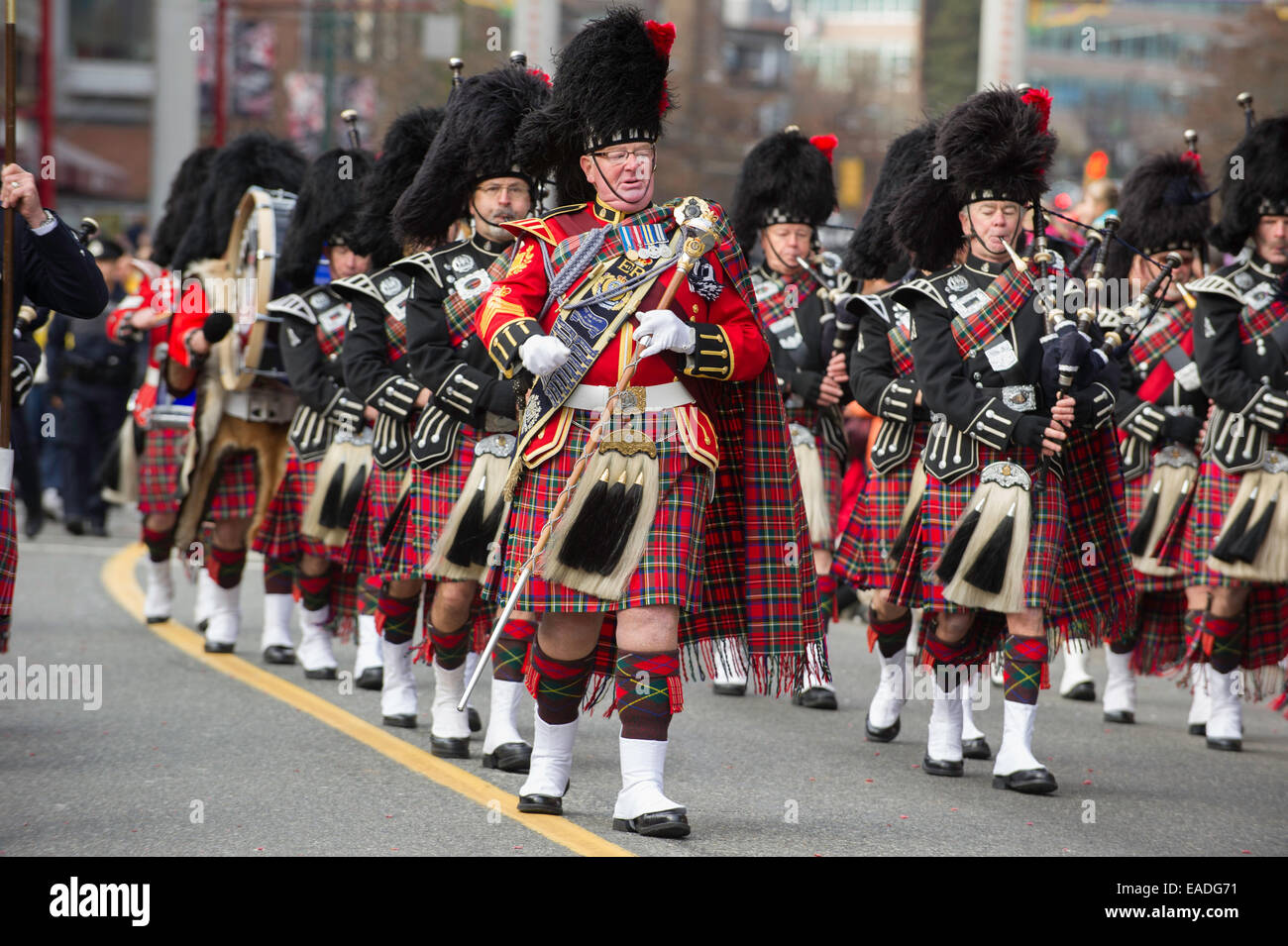 Vancouver Police Pipe Band Marching In Traditional