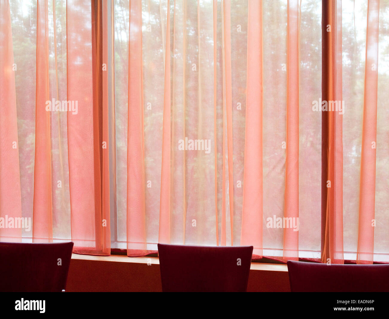 Pink Curtains And Red Chairs Of Dining Room