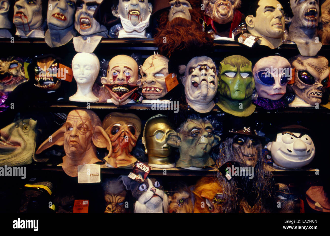 Halloween masks on display Stock Photo, Royalty Free Image ...