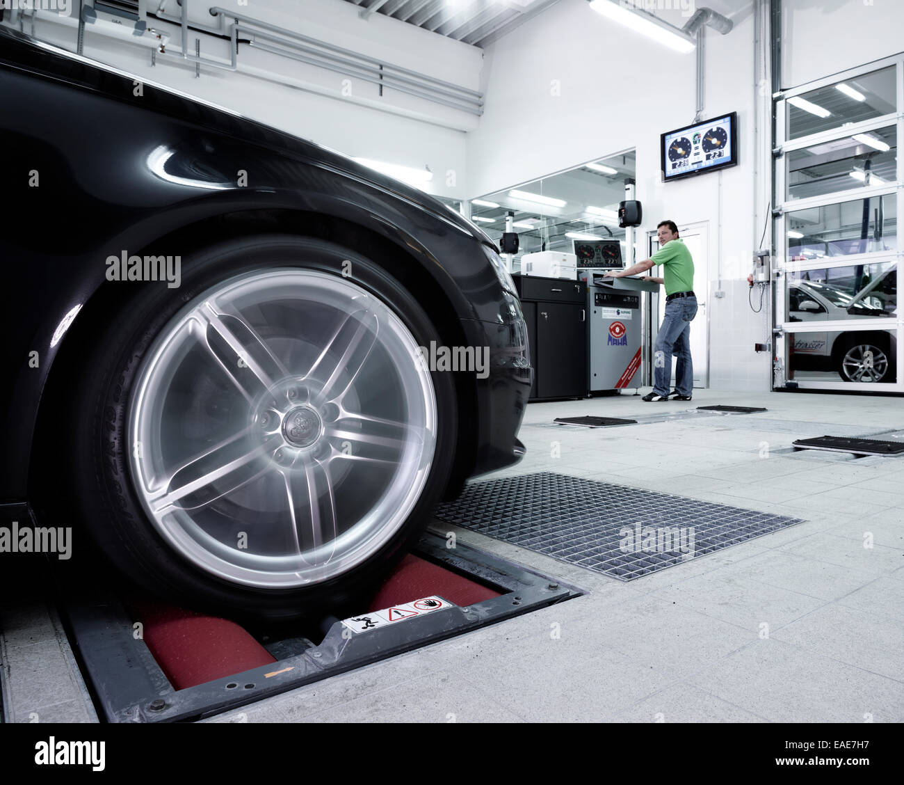 emission control testing car on a test bench st gertraudi reith im stock photo royalty free. Black Bedroom Furniture Sets. Home Design Ideas