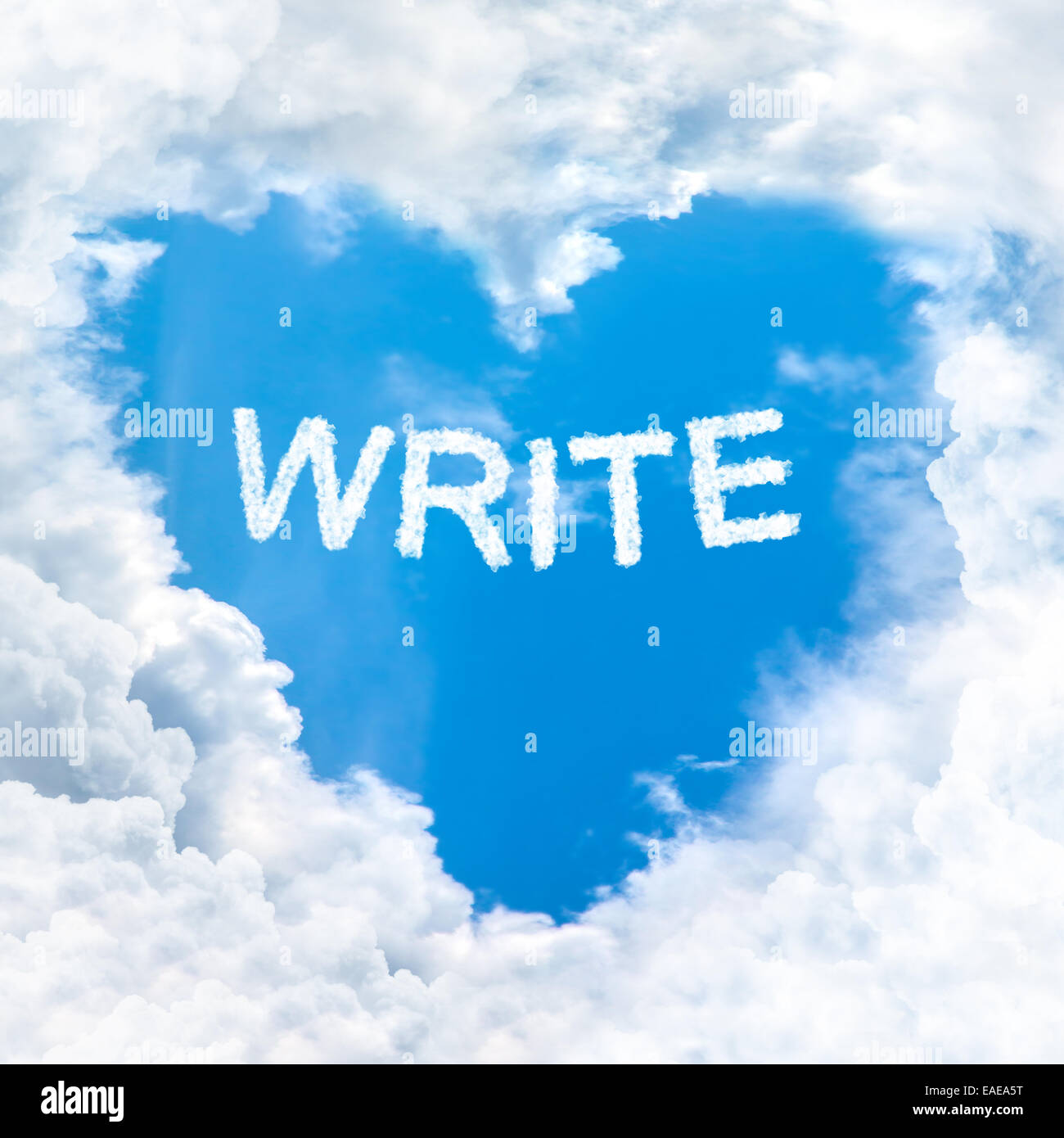 write word on blue sky inside love heart cloud form Stock Photo ...