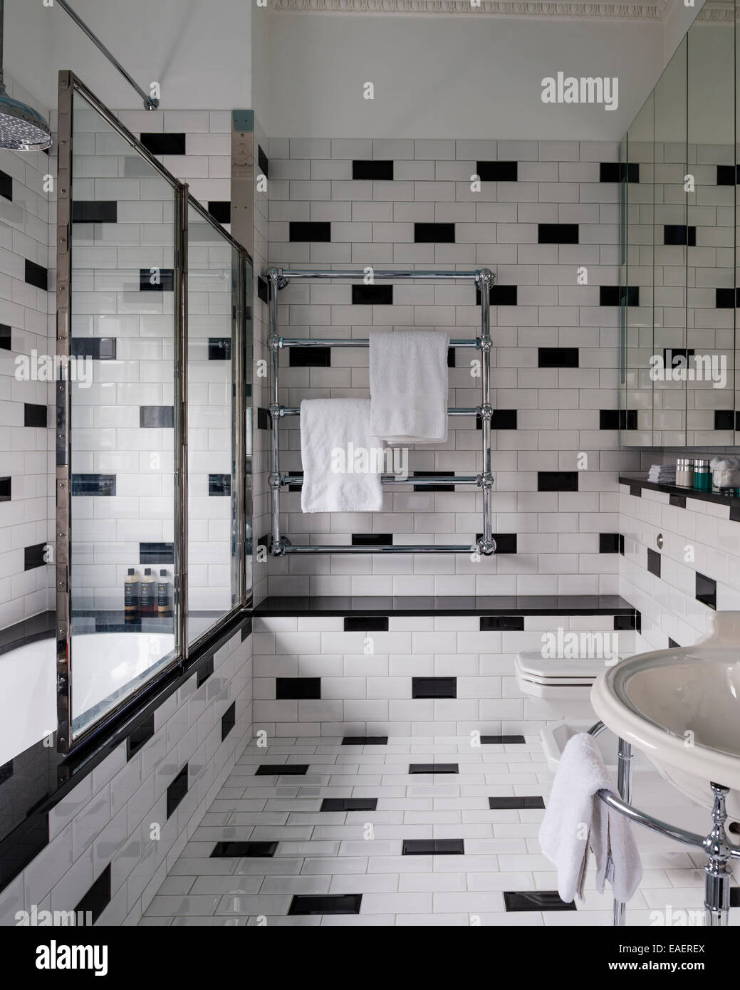 1940u0027s Style Bathroom From Drummonds With Black And White Brick Formation  Tile Work