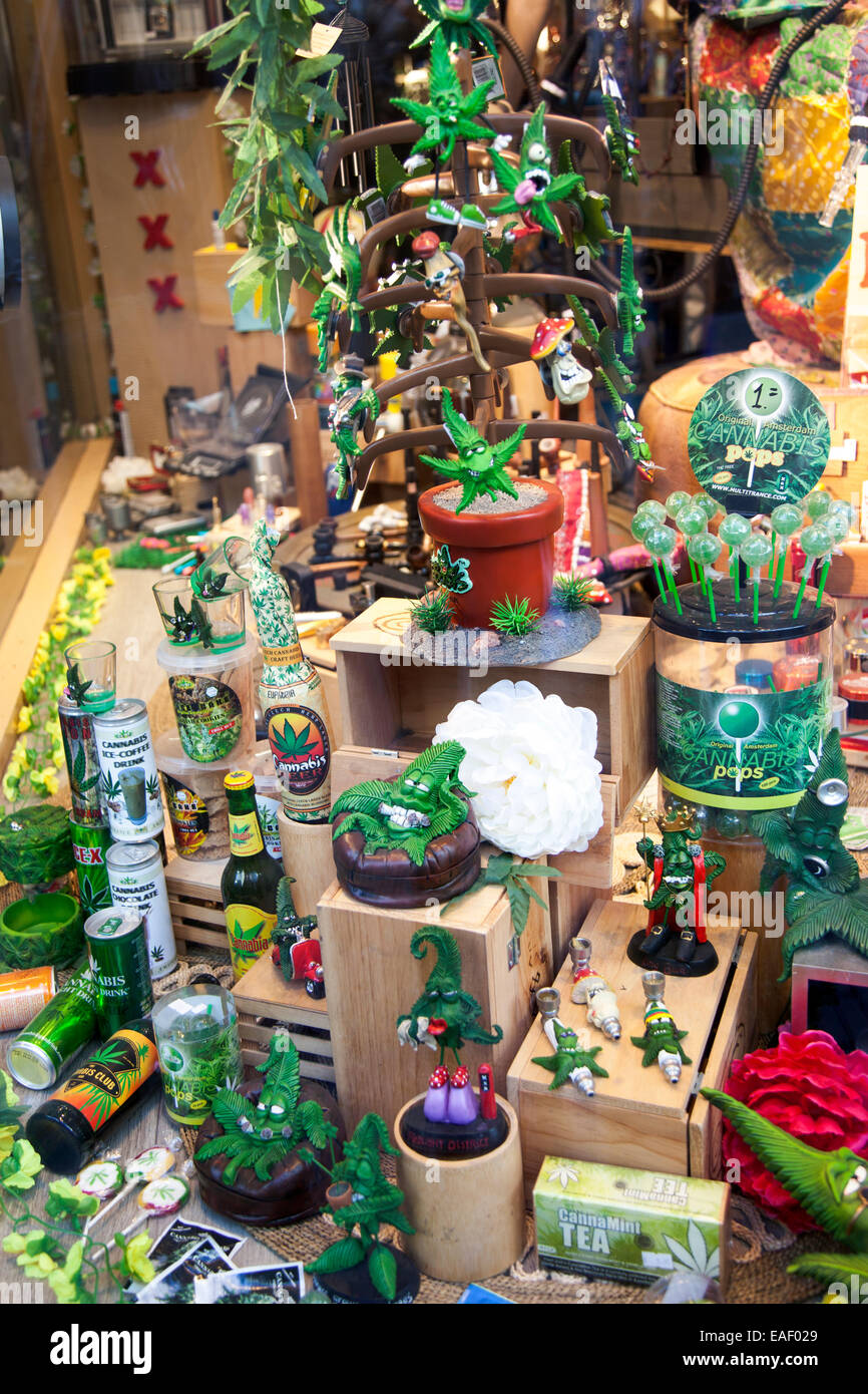 a shop display with marijuana souvenirs and gadgets in amsterdam stock photo royalty free image