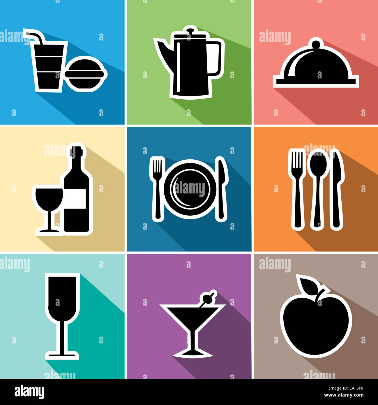 Food and restaurant set of flat icons design website