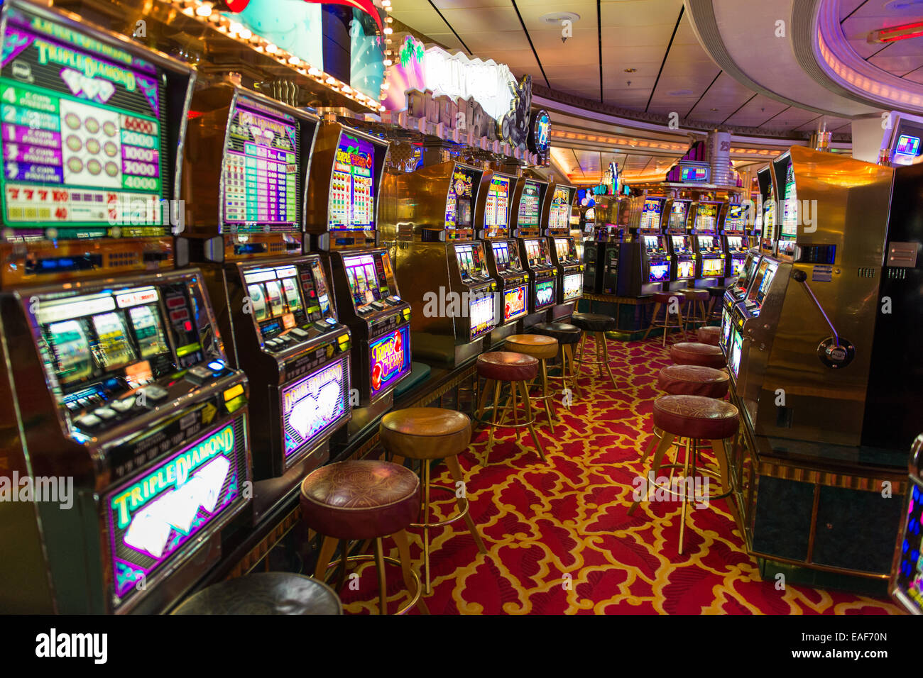 Slot Machines In A Casino On A Cruise Ship Adventure Of The Seas - Cruise ship casino