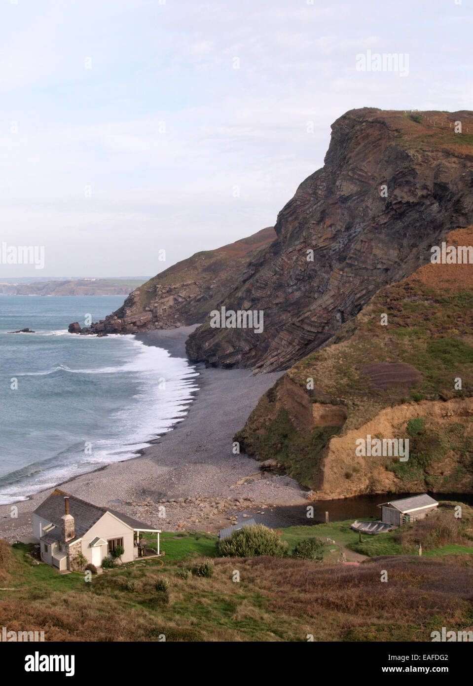 Cabin by the sea millook bude cornwall uk stock photo for Cabin by the sea