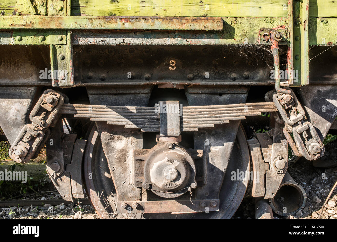 Old Green Wooden Train Wagon Stock Photo, Royalty Free