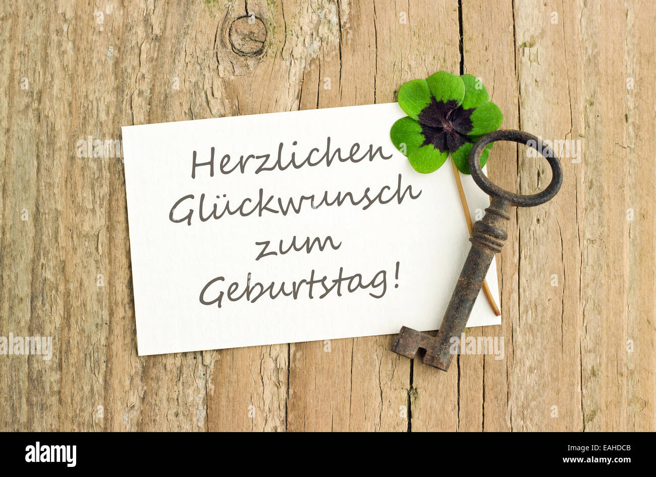 german birthday card with Key and Leafed clover Photo – Birthday Card in German