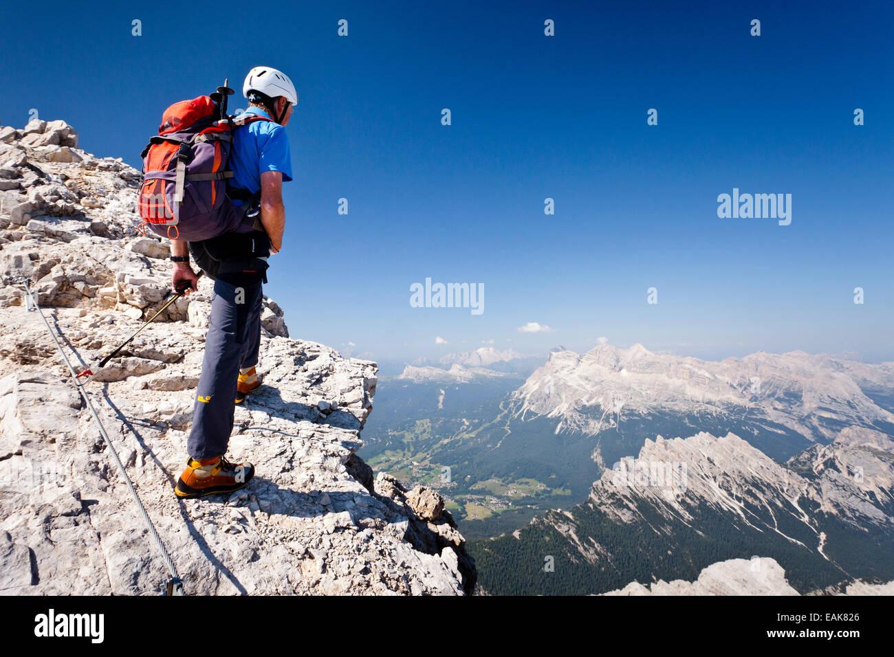 Mountain Climber Ascending The Via Ferrata Marino Bianchi Climbing ...