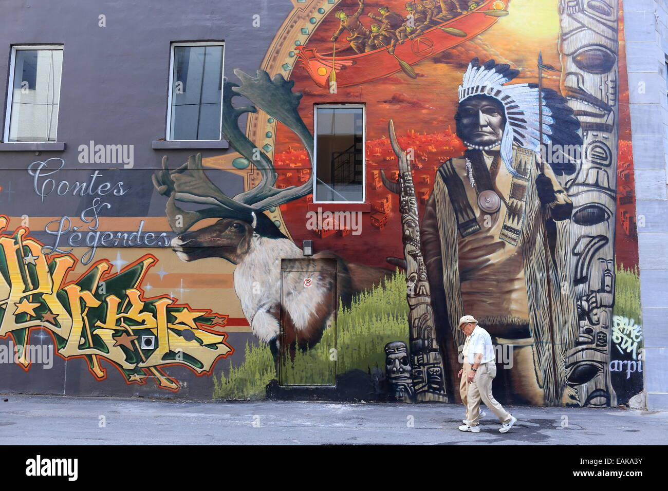 Mural with a native american motif montral quebec province mural with a native american motif montral quebec province canada amipublicfo Choice Image