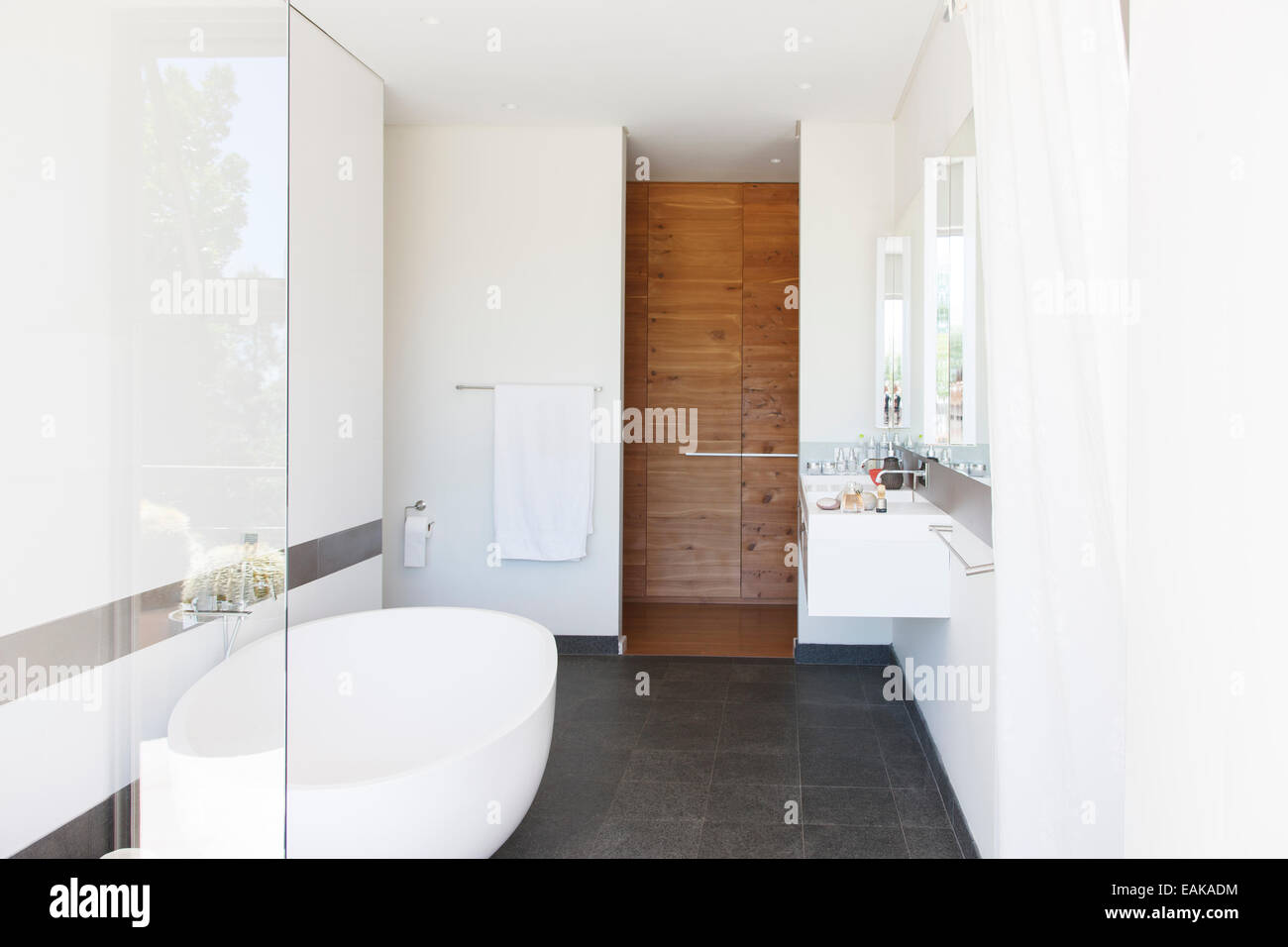 Modern Bathroom Interior With Large Bathtub And Wooden Door