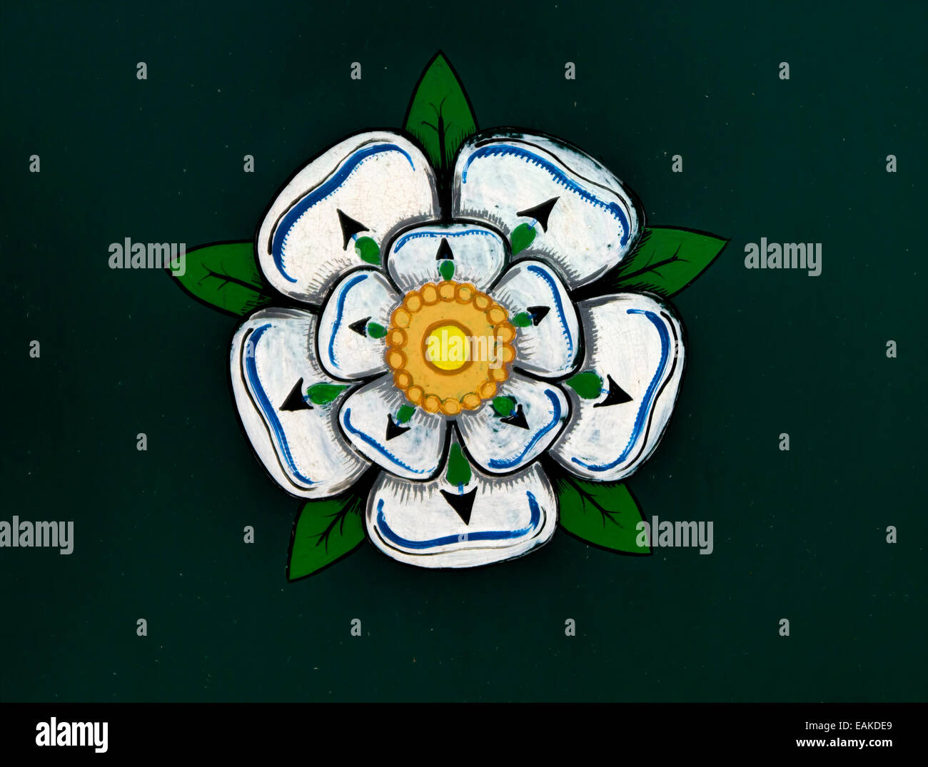 White rose symbol house york stock photos white rose symbol house a canal barge traditional painting of the white rose of york stock image buycottarizona Choice Image