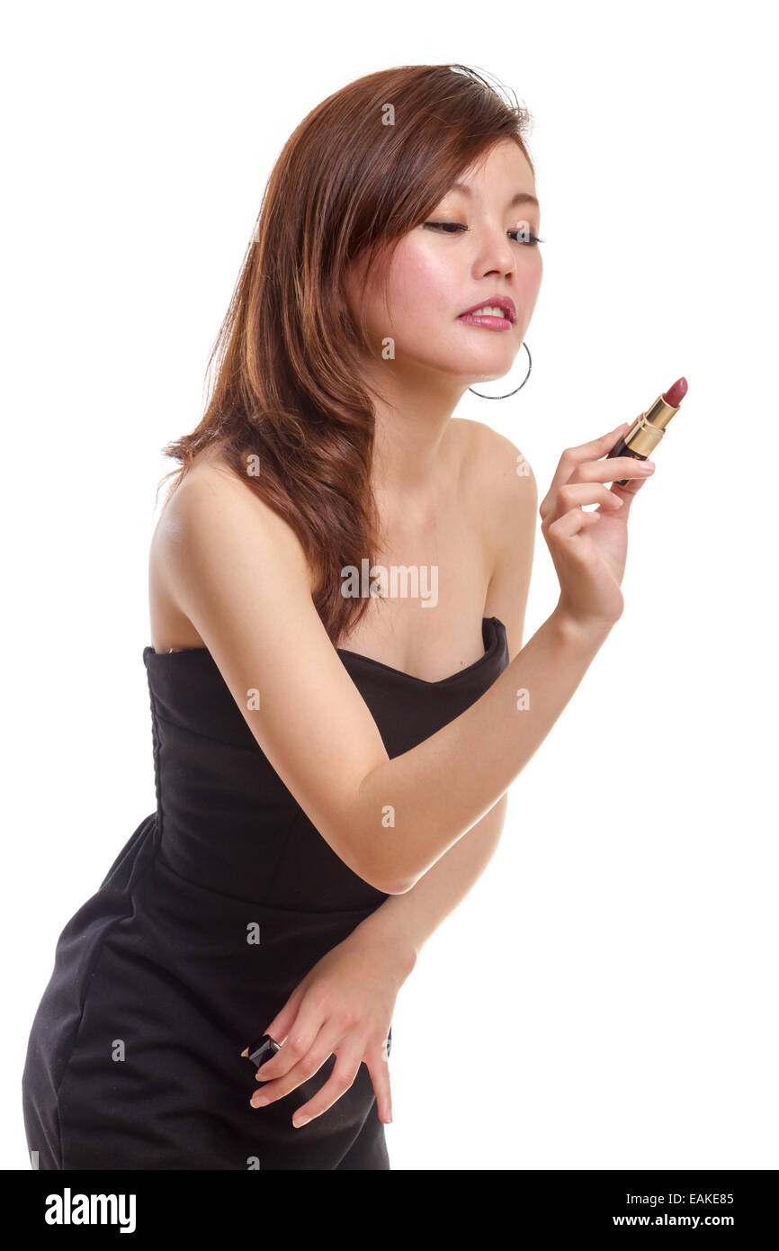 Black dress lipstick - Chinese Woman In Black Dress About To Write With Lipstick