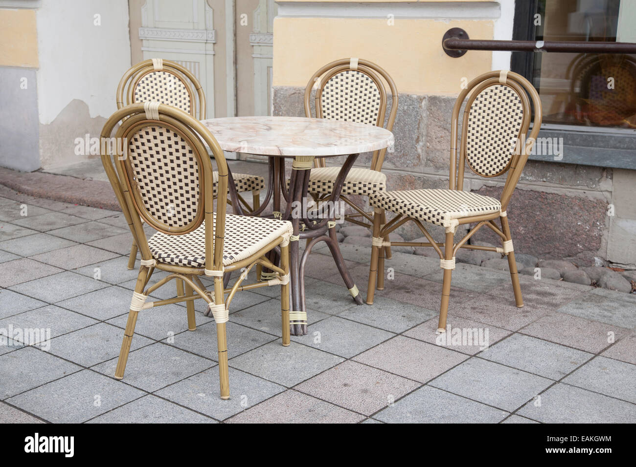 Cafe Table and Chairs in Paris Street Stock Royalty Free