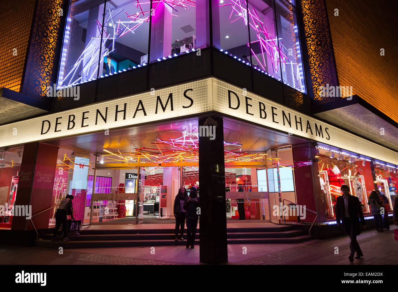 debenhams department store with christmas lights in oxford street london england uk - Christmas Light Store