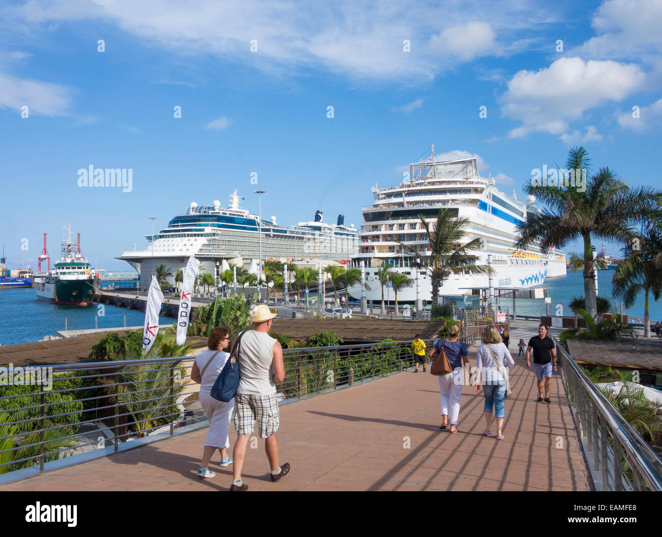 View of cruise ships in las palmas port from nearby shopping mall stock photo royalty free - Port of las palmas gran canaria ...