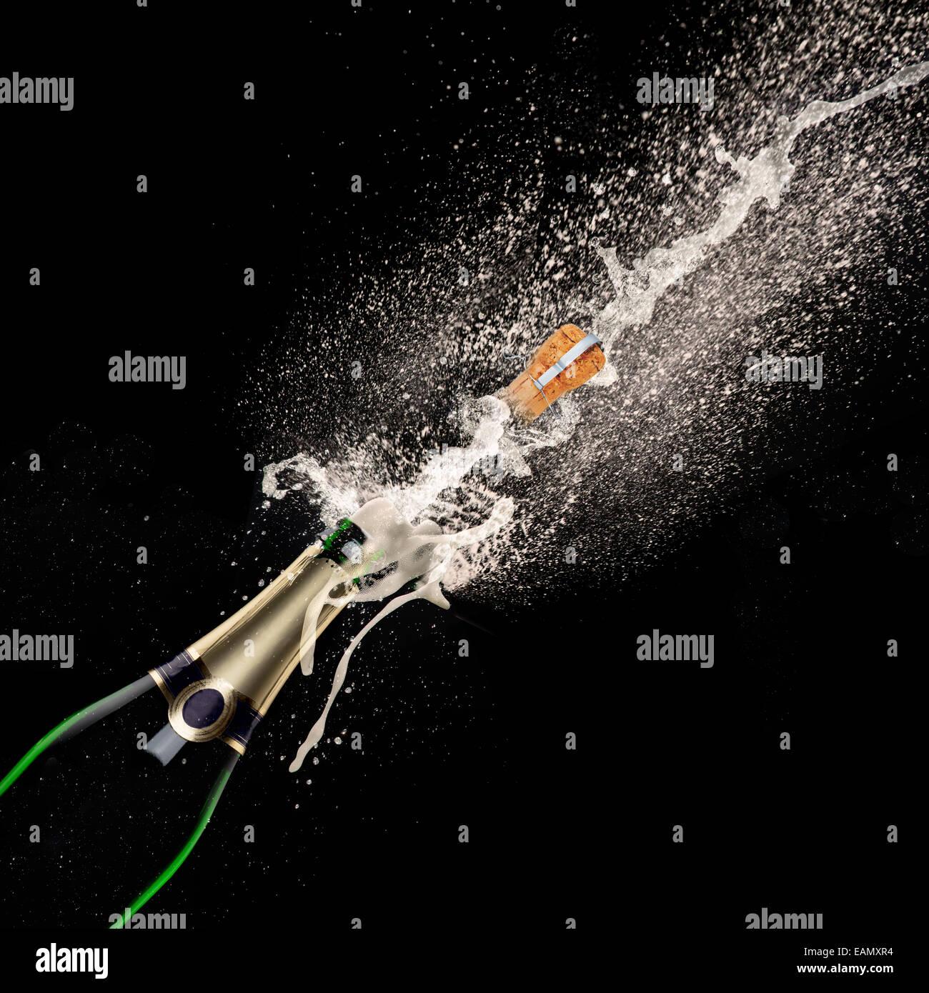 Stock Photo Champagne Explosion On Black Background Celebration Theme ...